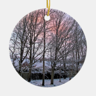 Merry Christmas - Snowy Trees Ceramic Ornament