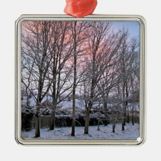 Merry Christmas - Snowy Trees Metal Ornament