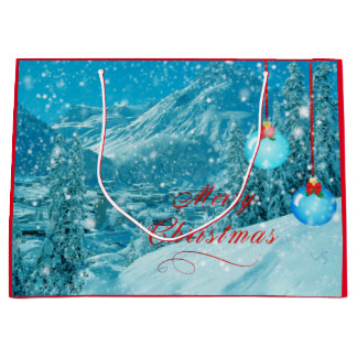 Merry Christmas Snowy Village Large Gift Bag