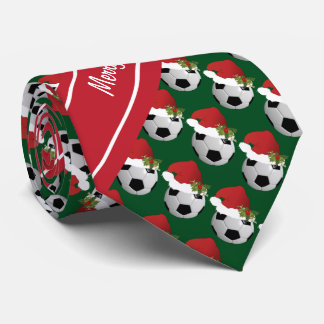 Merry Christmas Soccer Ball Neck Tie