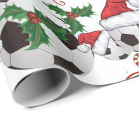 Merry Christmas Soccer Ball   Santa Wrapping Paper