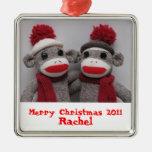 Merry Christmas Sock Monkey Ornament