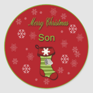 Merry Christmas Son Classic Round Sticker