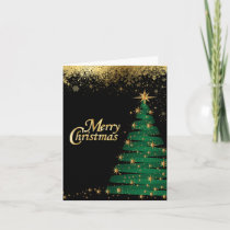 Merry Christmas Sparkle Tree Holiday Card