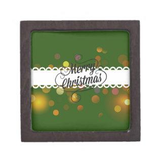 Merry Christmas Sparkling Green Premium Keepsake Box