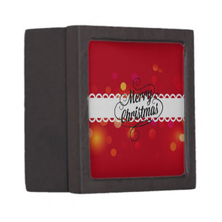Merry Christmas Sparkling Red Premium Trinket Boxes