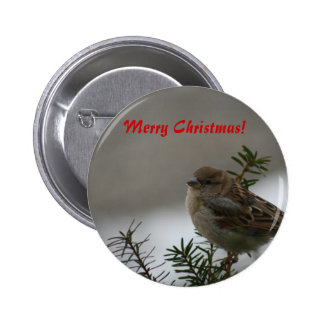 Merry Christmas, Sparrow Pinback Buttons