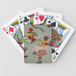 Merry Christmas Sparrows Bicycle Playing Cards