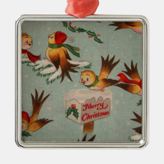 Merry Christmas Sparrows Metal Ornament