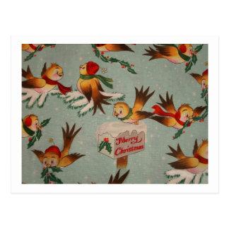 Merry Christmas Sparrows Postcard