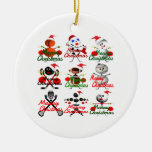 Merry Christmas Sports Filled Holday Cartoon Double-Sided Ceramic Round Christmas Ornament