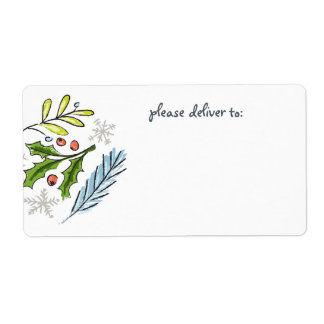 Merry Christmas Spruce Boughs Blank Label