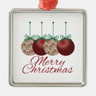 Merry Christmas Square Metal Christmas Ornament