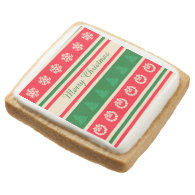 Merry Christmas Square Premium Shortbread Cookie