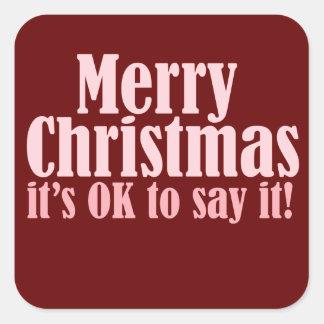 Merry Christmas Square Sticker