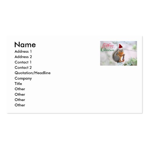 Merry Christmas Squirrel Double-Sided Standard Business Cards (Pack Of 100)