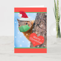 Merry Christmas Squirrel in Coronavirus Face Mask Holiday Card