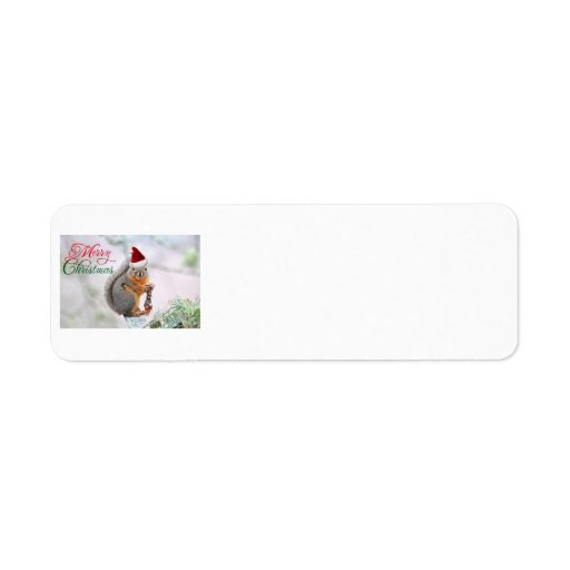 Merry Christmas Squirrel Return Address Labels