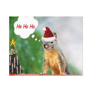 Merry Christmas Squirrel Saying Ho Ho Ho! Canvas Print