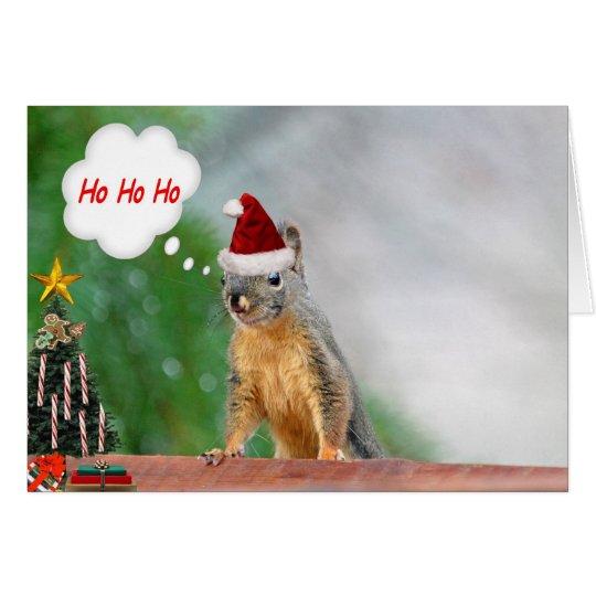 Merry Christmas Squirrel Saying Ho Ho Ho! Card