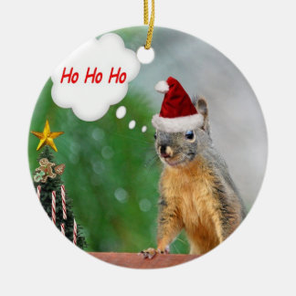 Merry Christmas Squirrel Saying Ho Ho Ho! Ceramic Ornament