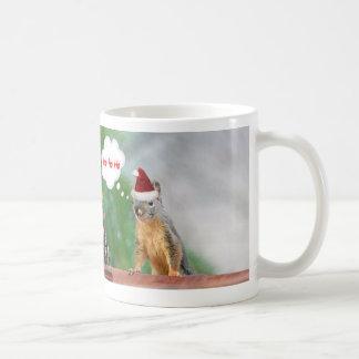 Merry Christmas Squirrel Saying Ho Ho Ho! Coffee Mug