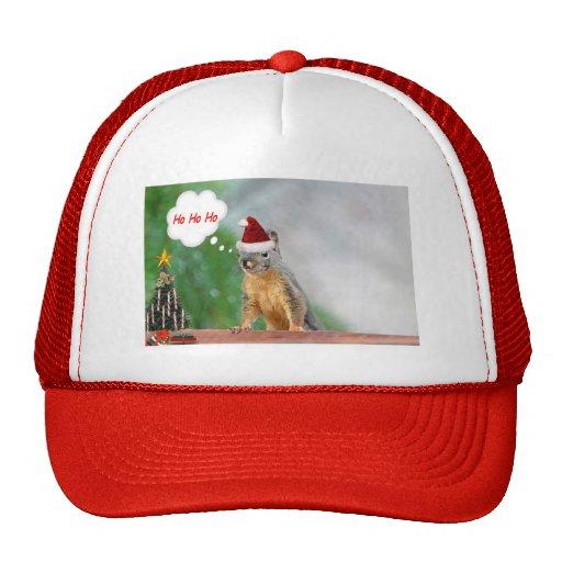 Merry Christmas Squirrel Saying Ho Ho Ho! Mesh Hats
