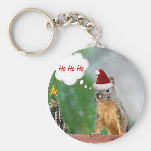Merry Christmas Squirrel Saying Ho Ho Ho! Keychains