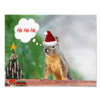Merry Christmas Squirrel Saying Ho Ho Ho! Photo Print