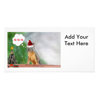 Merry Christmas Squirrel Saying Ho Ho Ho Photo Card Template