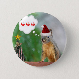 Merry Christmas Squirrel Saying Ho Ho Ho! Pinback Button