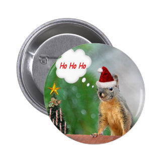 Merry Christmas Squirrel Saying Ho Ho Ho! Pinback Button