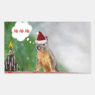 Merry Christmas Squirrel Saying Ho Ho Ho! Rectangular Stickers