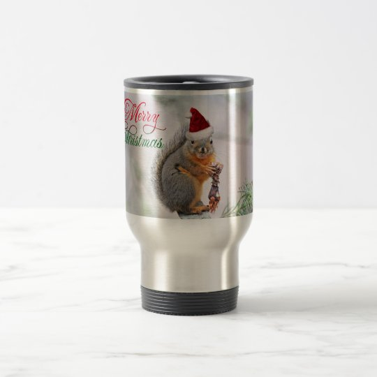 Merry Christmas Squirrel Travel Mug