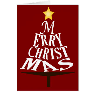 Merry Christmas Stacked Christmas Tree Card