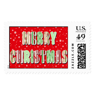 Merry Christmas Stamps Retro Patterns