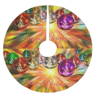 Merry Christmas Star and Ornament Abstract Brushed Polyester Tree Skirt