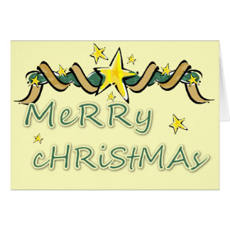 Merry Christmas Star and Streamer Card