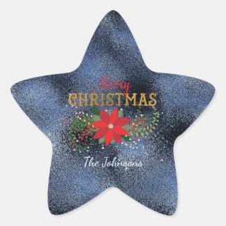 Merry Christmas Star Blue Marine Glass Star Sticker
