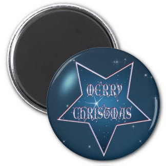 MERRY CHRISTMAS STAR BUBBLE by SHARON SHARPE 2 Inch Round Magnet