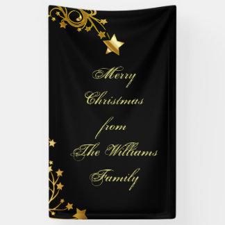Merry Christmas Star Family Name Stars Black Gold Banner