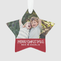 Merry Christmas | Star Ornament Monogram Red