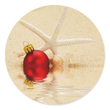 Beach Themed Merry Christmas Starfish Classic Round Sticker