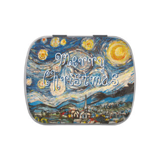 Merry Christmas Starry Night after Van Gogh Jelly Belly Tins