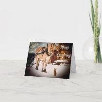 Merry Christmas starry night at farm with horse Holiday Card