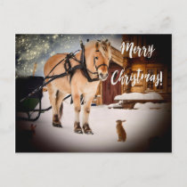 Merry Christmas starry night farm with horse snow Holiday Postcard
