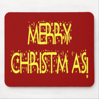 Merry Christmas Starry Night Font Mouse Pad