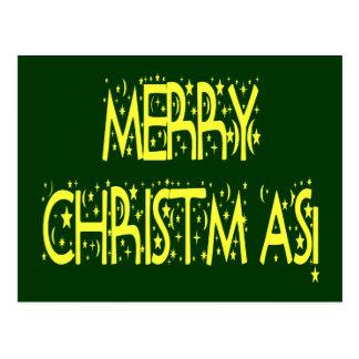 Merry Christmas Starry Night Font Postcard