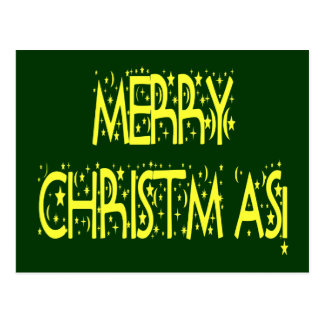 Merry Christmas Starry Night Font Postcards