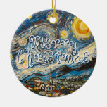Merry Christmas Starry Night Vincent Van Gogh Double-Sided Ceramic Round Christmas Ornament
